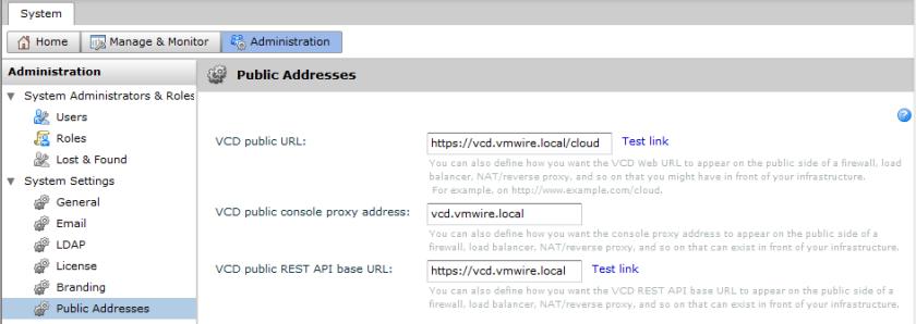 vCD Public URL