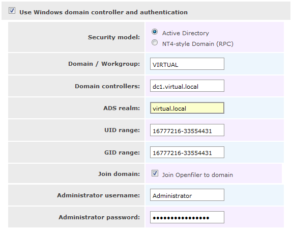 How to setup Active Directory authentication on Openfiler (4/6)