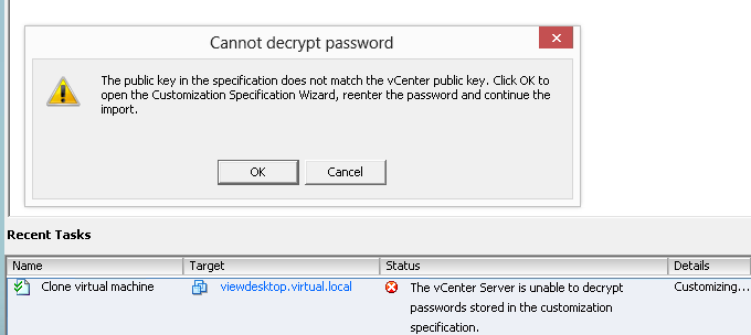 cannot decrypt password